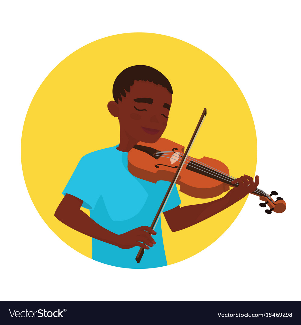 Musician playing violin boy violinist is inspired