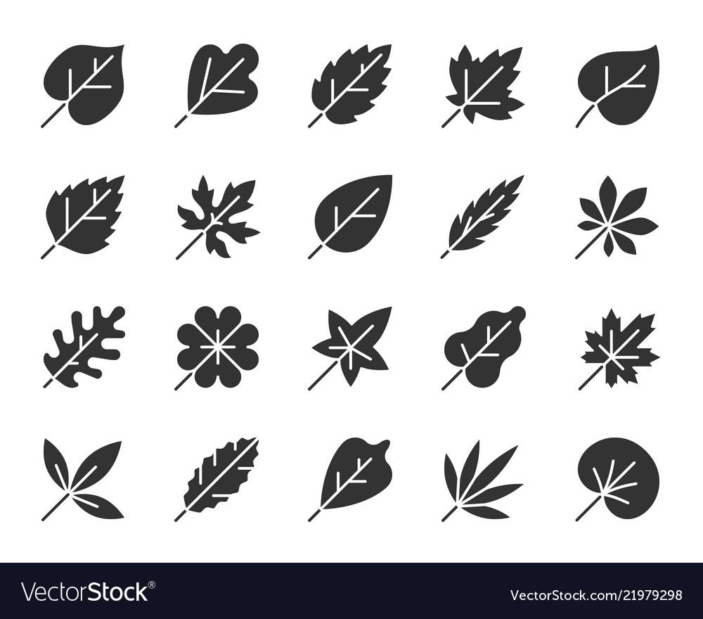 Organic leaf black silhouette icons set