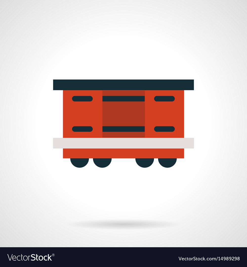 Red railroad container flat icon