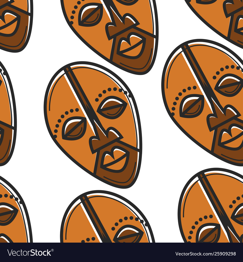 Travel to south africa totem mask seamless pattern