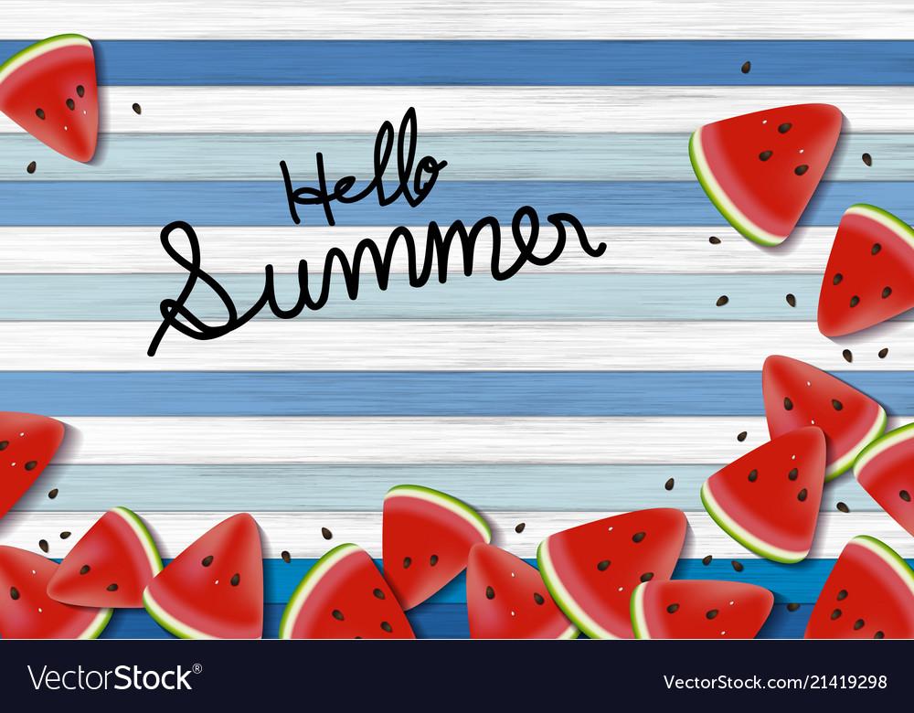 Watermelon on wood background summer banner