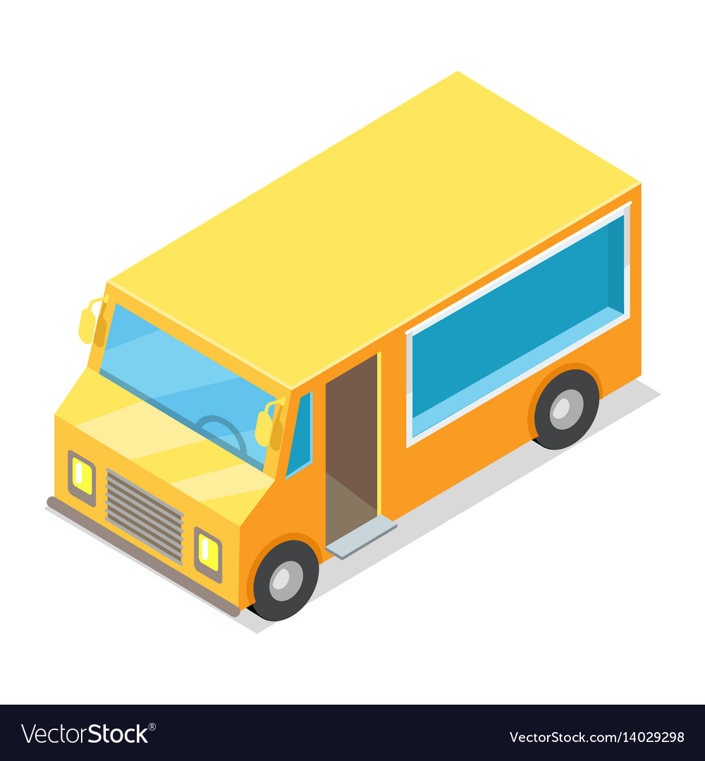 Yellow waggon for implementation of street food