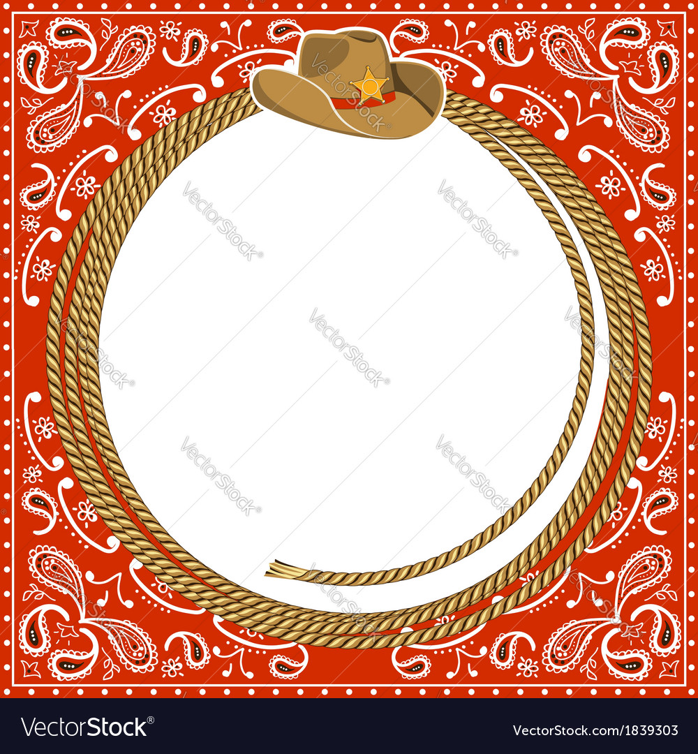 Cowboy card background with hat and rope vector image