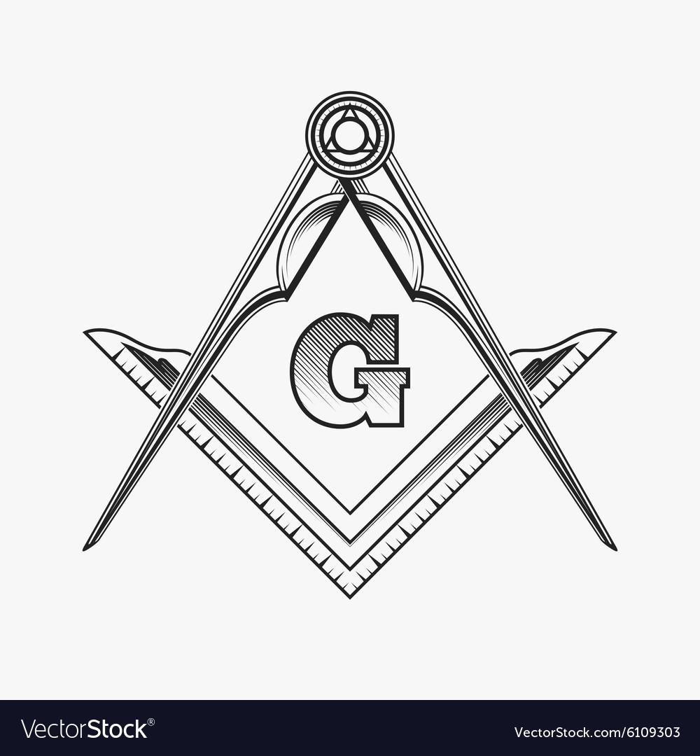 Freemasonry Emblem Logo With G Great Architect Vector Image