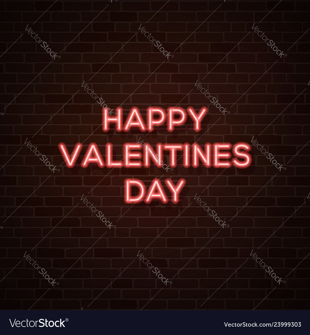 Happy valentines day 80s style glowing neon text