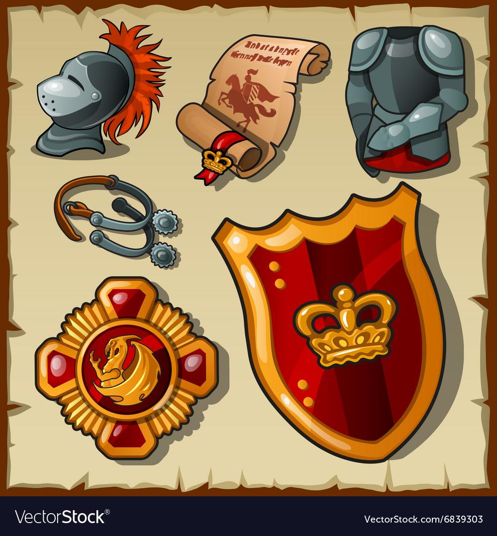 Knight set uniforms and symbols vector image