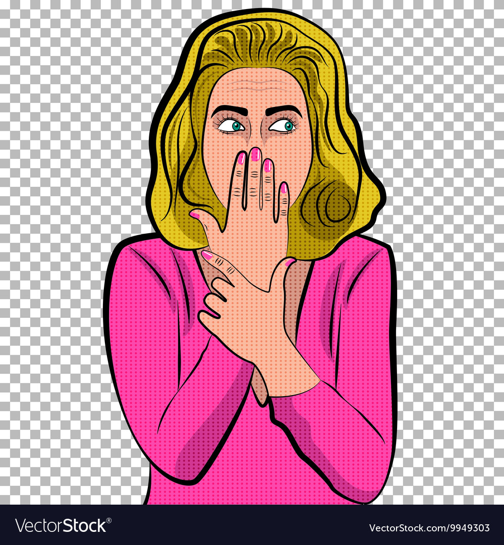 Pop art cute woman with covering her mouth