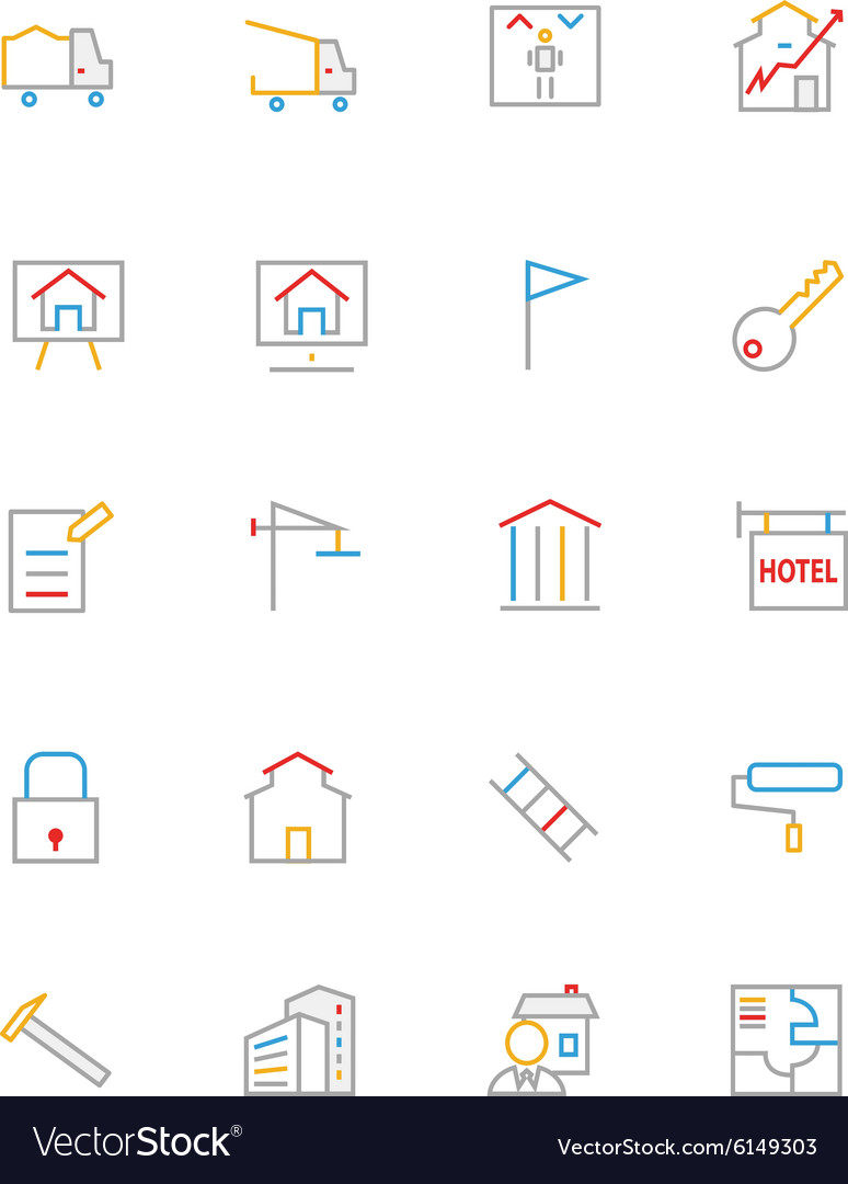 Real Estate Colored Line Icons 3 vector image