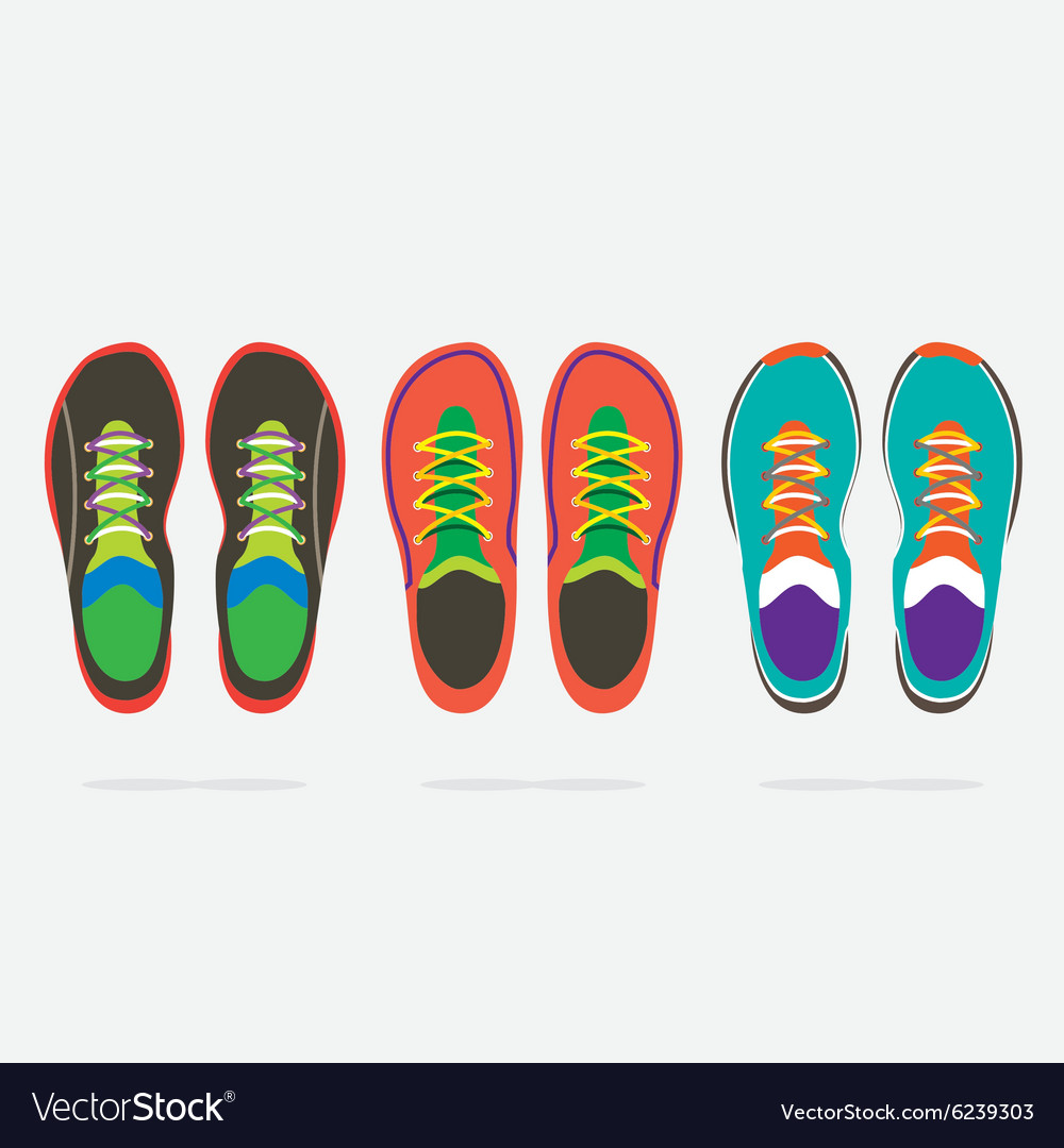Top View Of Colorful Running Shoes