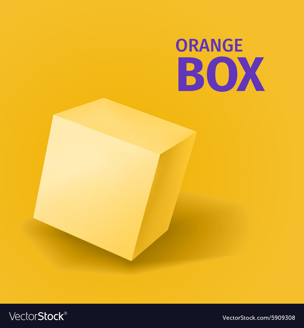 Abstract orange box with shadow vector image