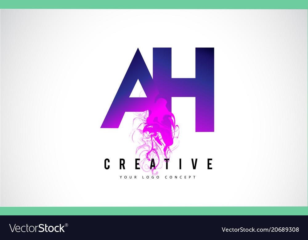 Ah a h purple letter logo design with liquid