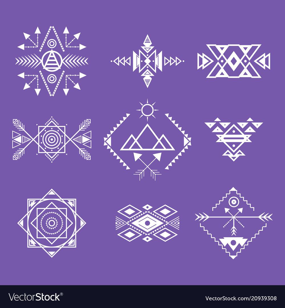 Aztec style ornament white thin line icon set