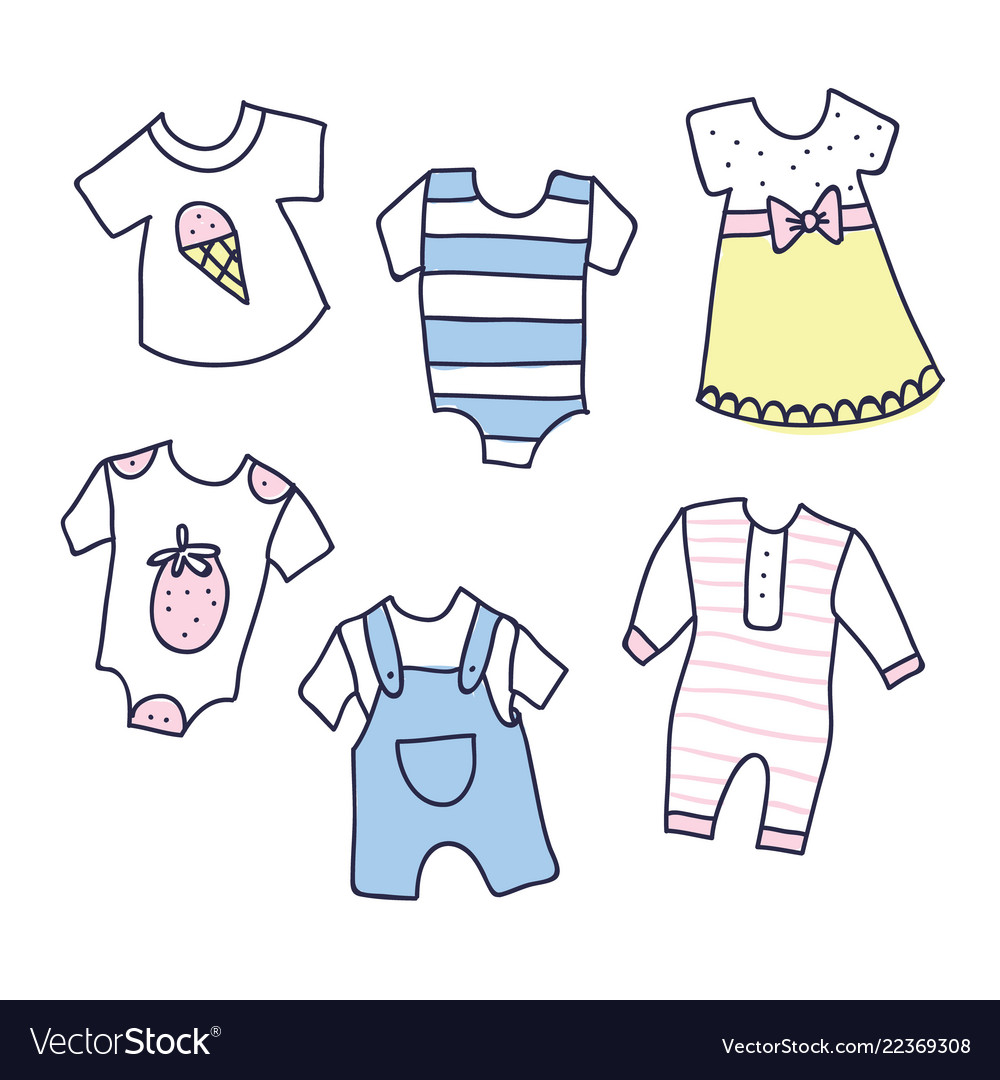26067dd39 Baby shower of girl and boy clothes Royalty Free Vector