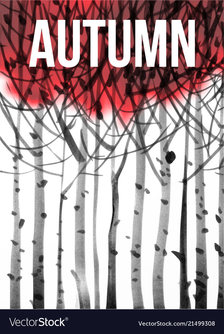 Background with stylized image of autumn trees