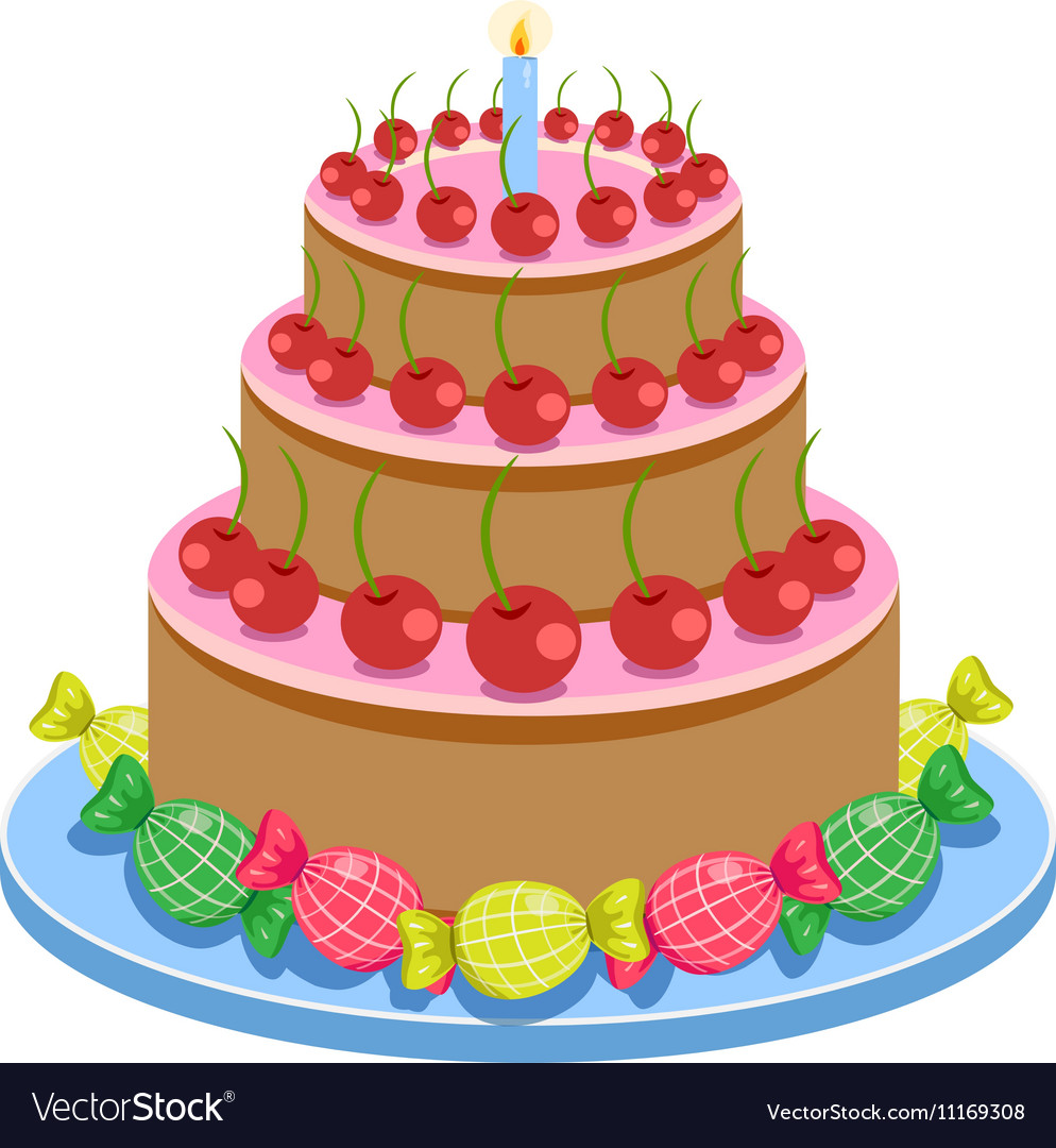 Super Birthday Cake With Candles And Candies Isolated On Personalised Birthday Cards Paralily Jamesorg
