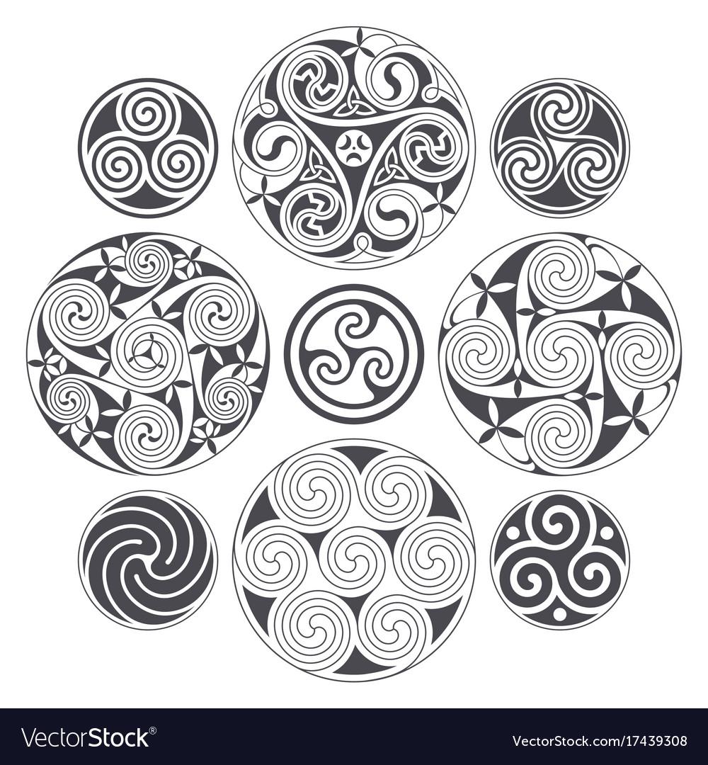 celtic spiral design for prints tattoo and vector image rh vectorstock com celtic triple spiral tattoo meaning celtic double spiral tattoo