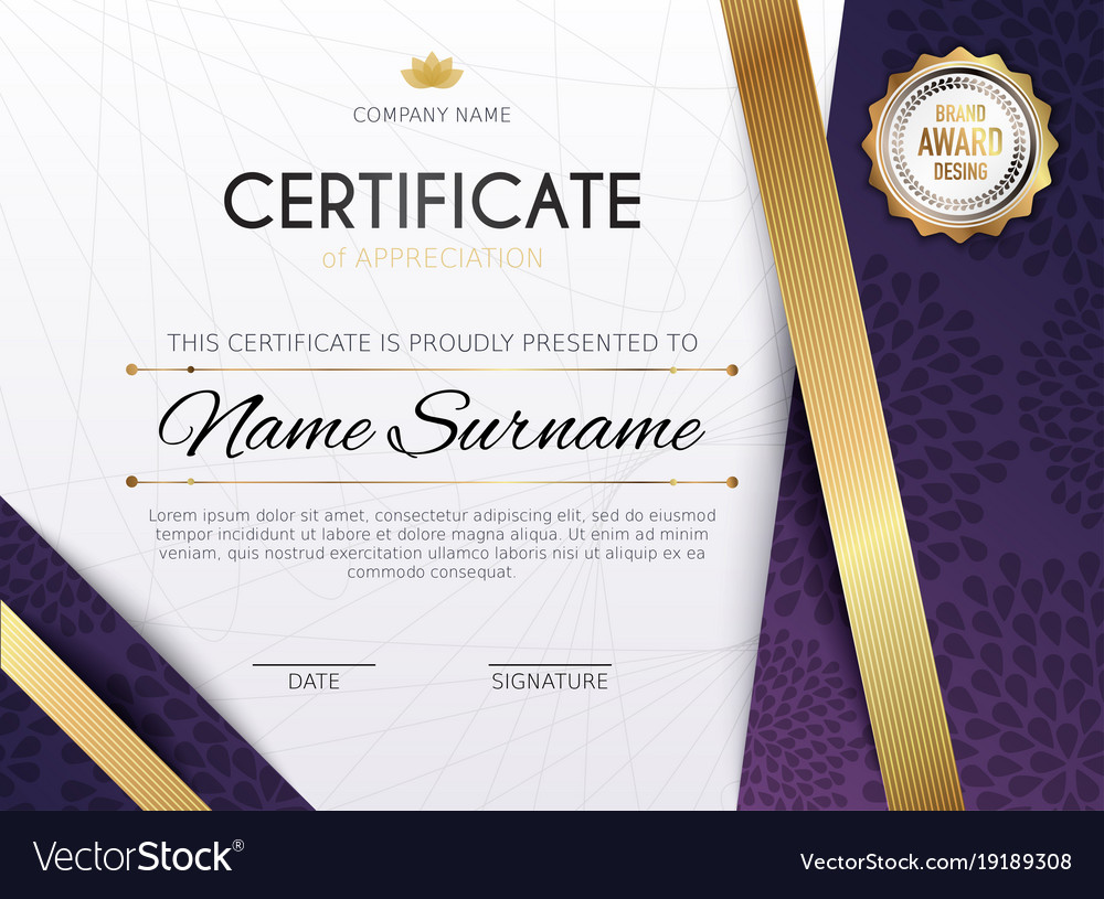 Certificate template with golden decoration