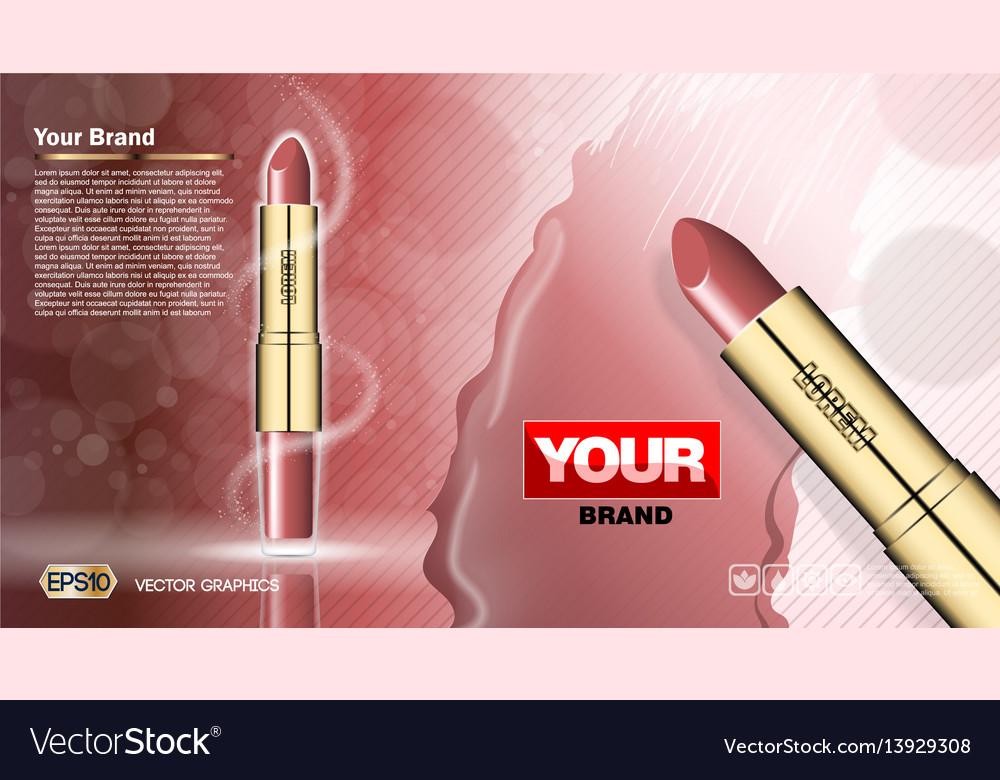Digital red lipstick set mockup vector image