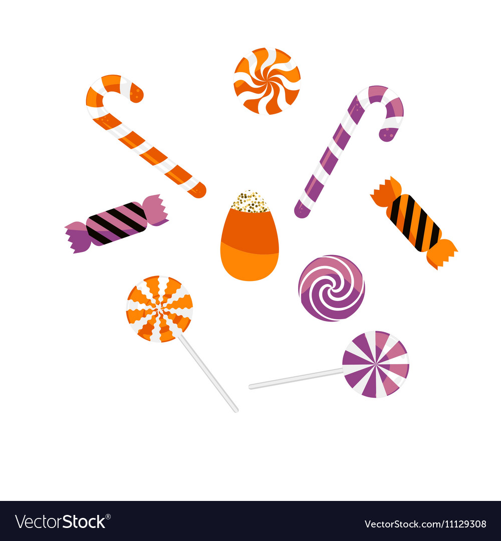 Halloween treat caramel candies set vector image