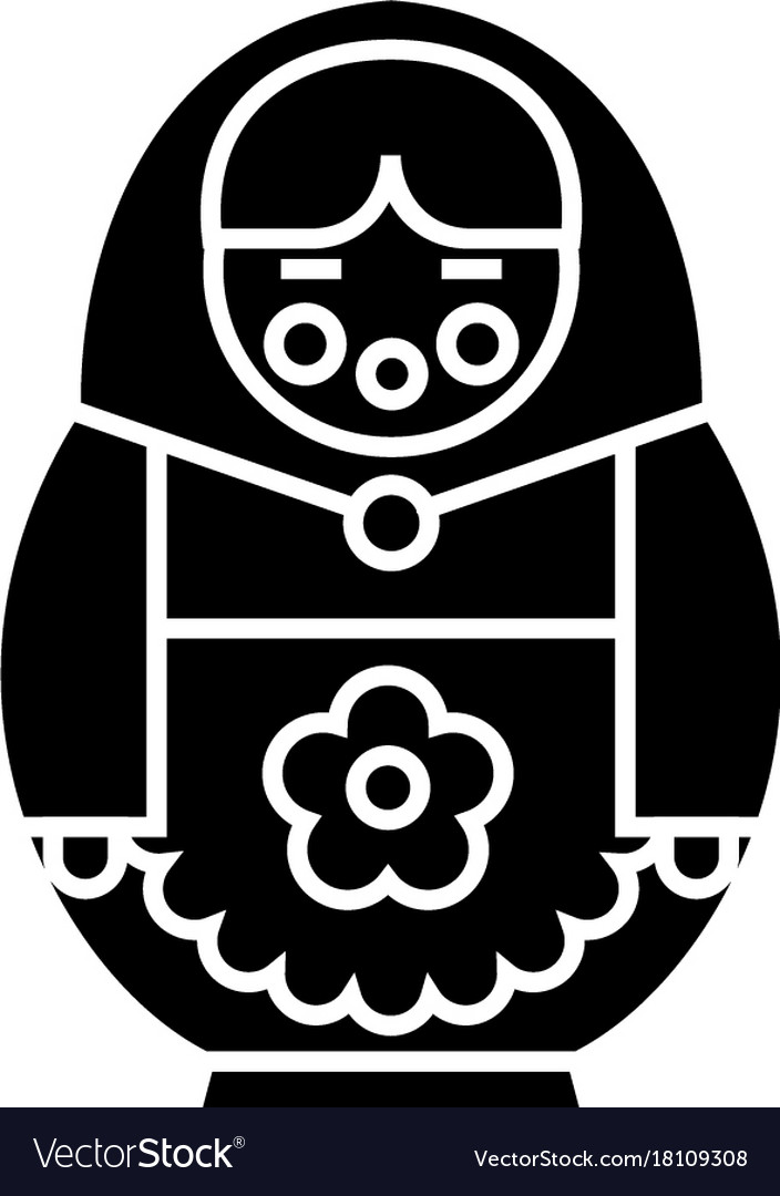 Matryoshka icon black sign