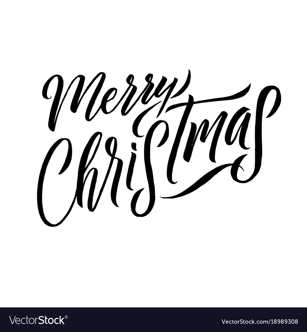 Merry christmas calligraphy greeting card design