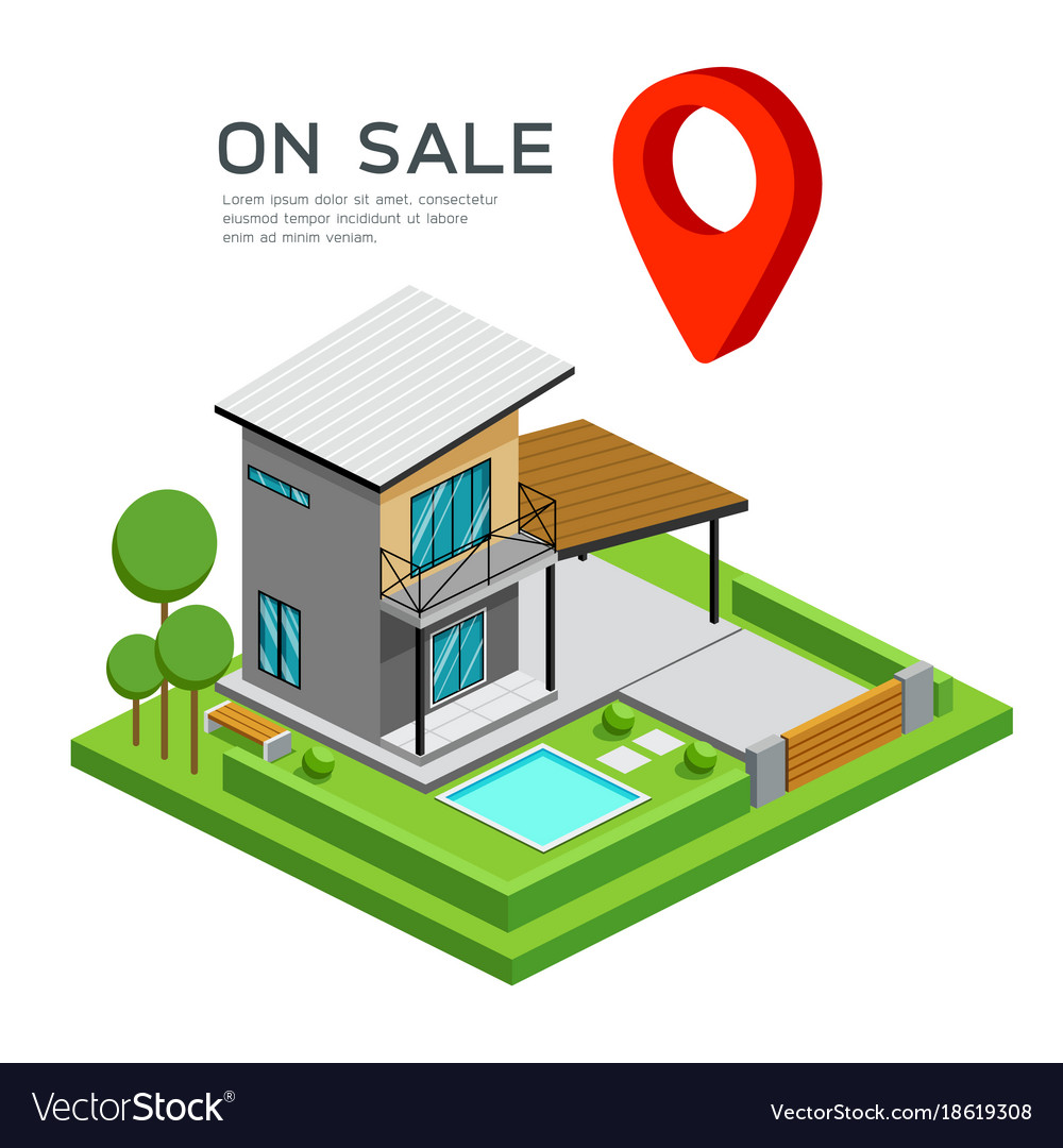 Modern house isometric with red point map