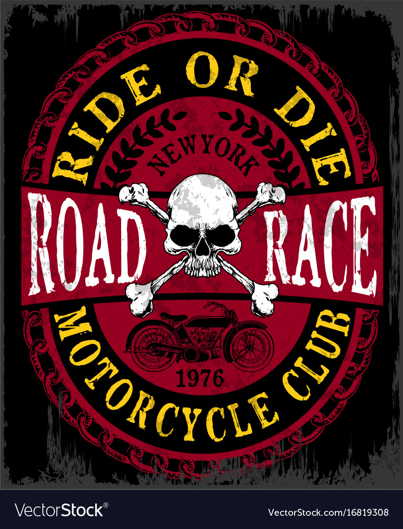 Motorcycle label t-shirt design with of custom