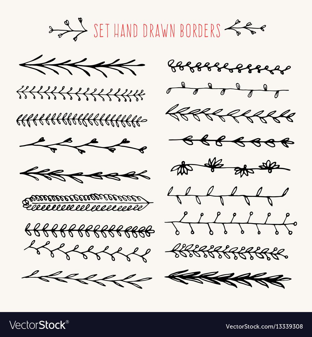 set hand drawn line border royalty free vector image