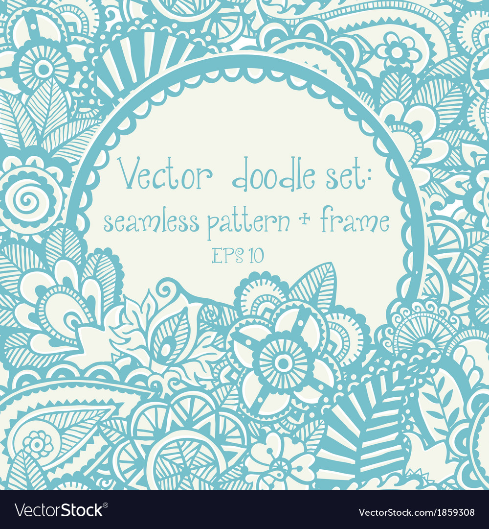 Set seamless hand-drawn pattern and frame