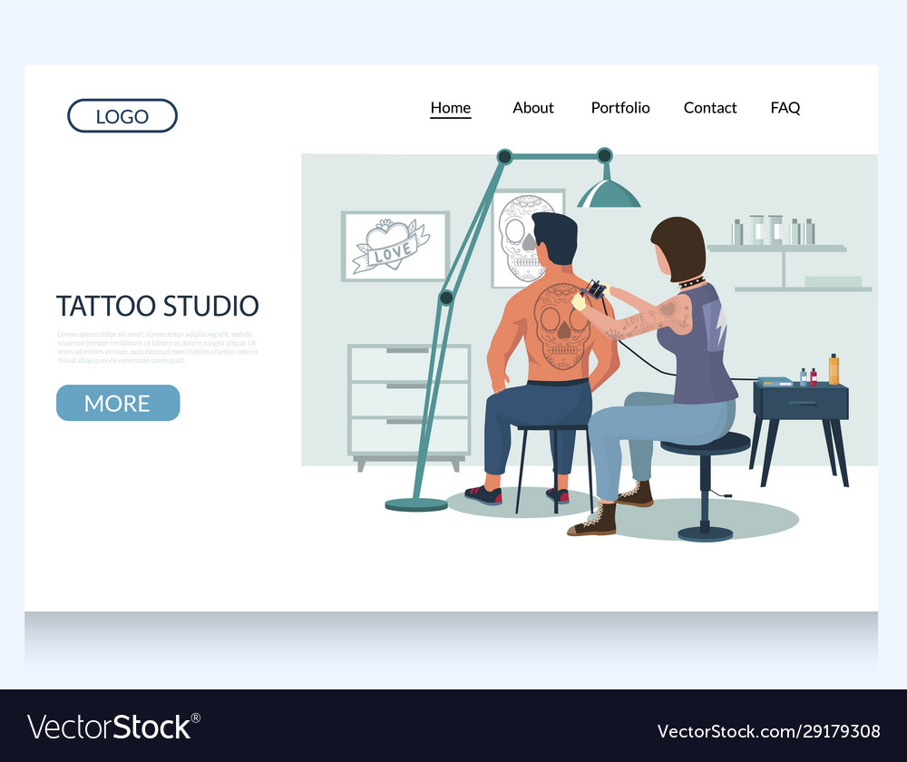 Tattoo studio website landing page design