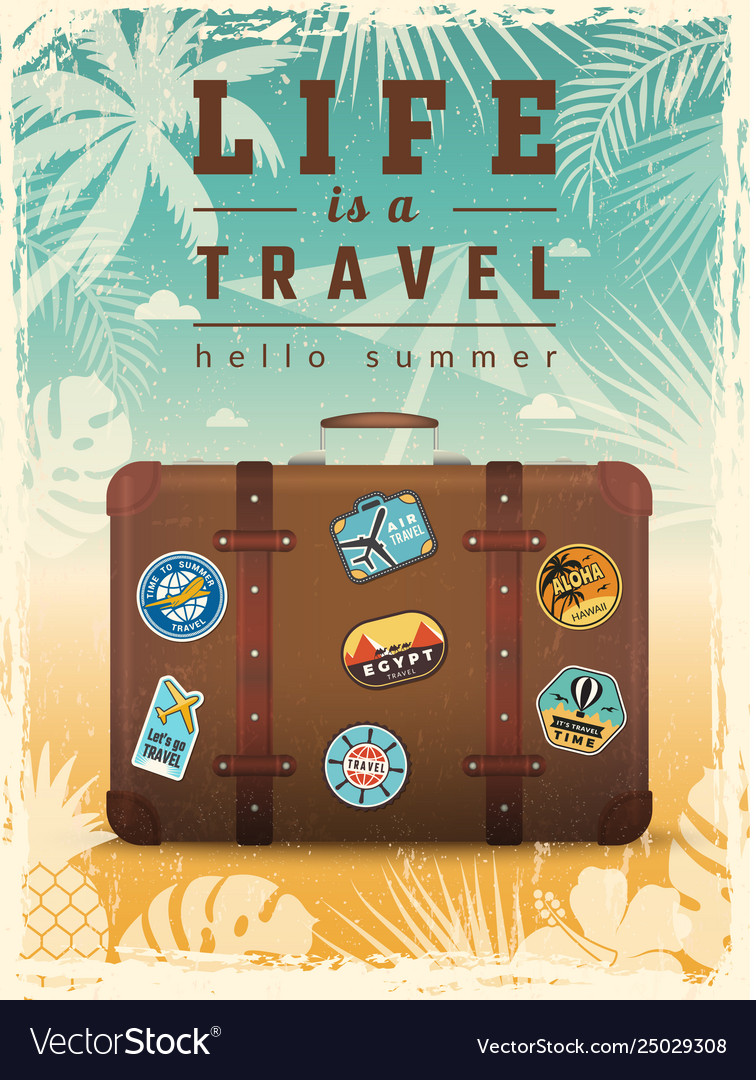 Travel retro poster summer vacation placard with