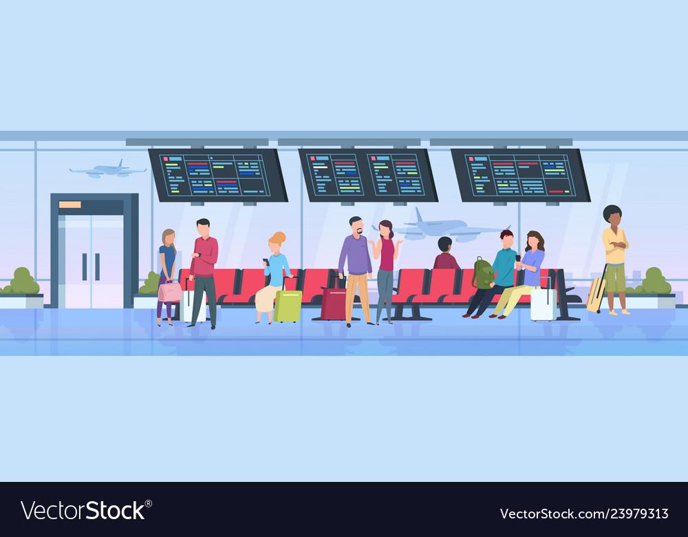 Airport terminal people travelers sitting waiting