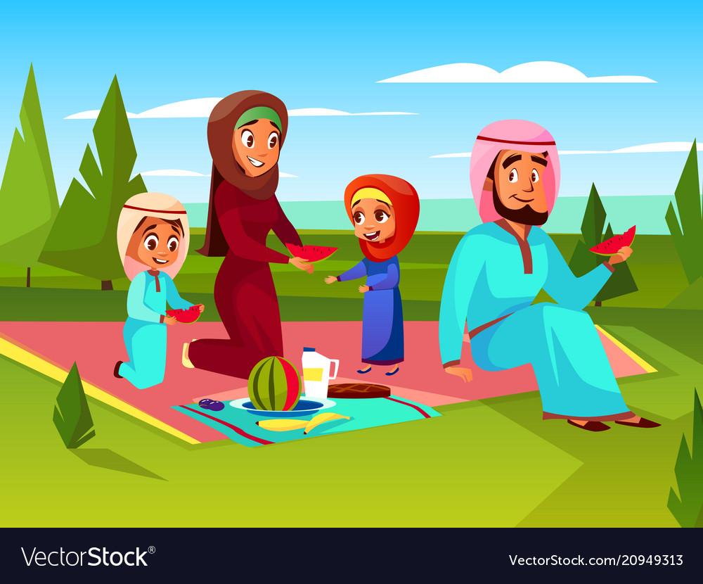 Arabian family outdoor picnic
