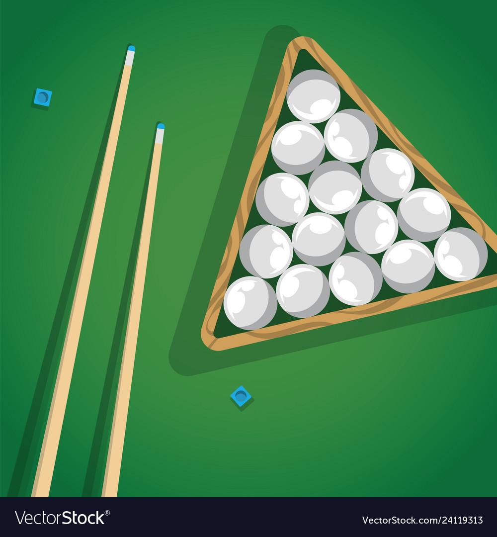 Billiard cue and pool balls in triangle on green