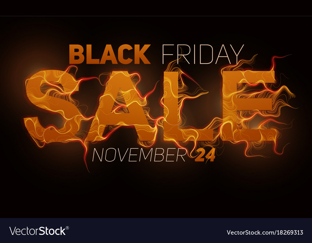 Black friday sale text with orange fire