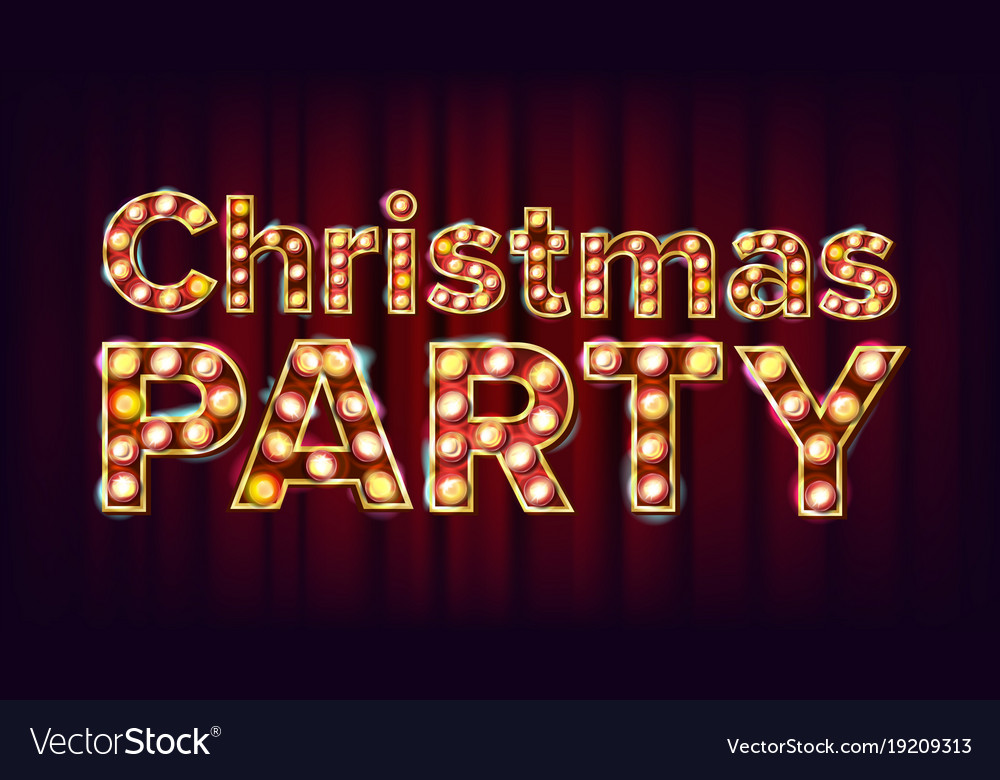 christmas party sign font marquee light royalty free vector