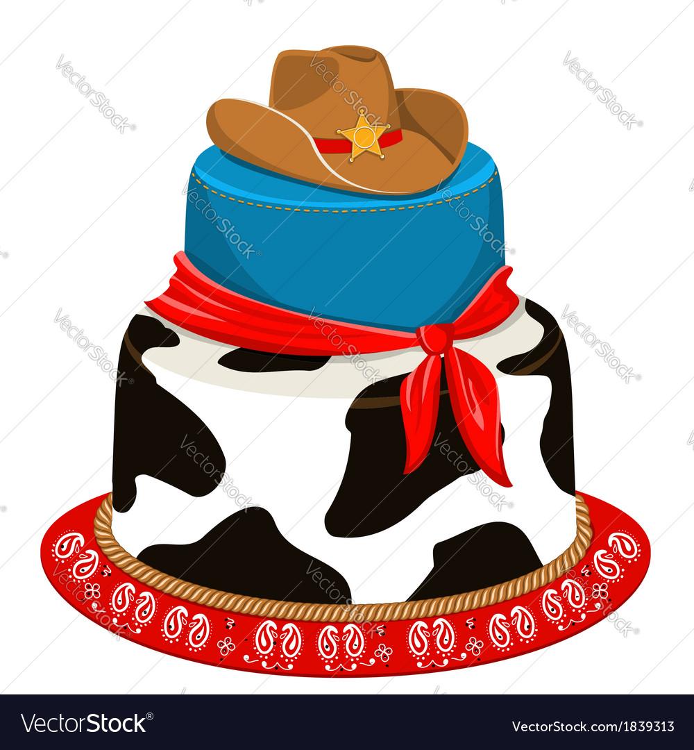 Fantastic Cowboy Party Birthday Cake Royalty Free Vector Image Funny Birthday Cards Online Alyptdamsfinfo
