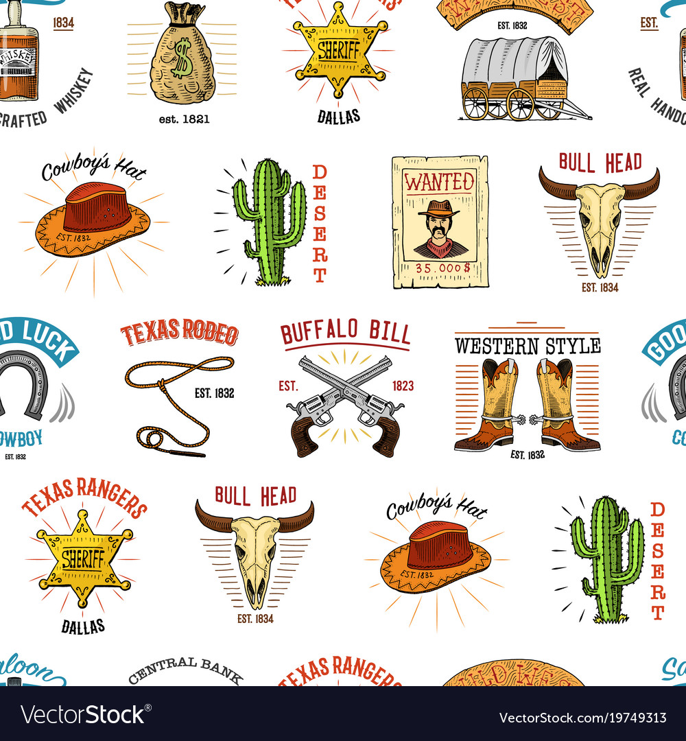 Cowboy seamless pattern wild west rodeo or