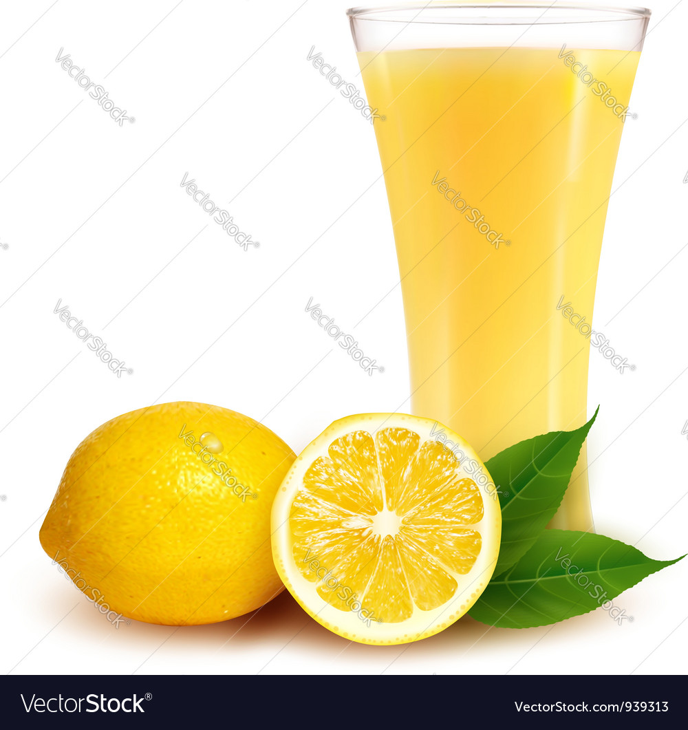 Fresh lemon and glass with juice vector image