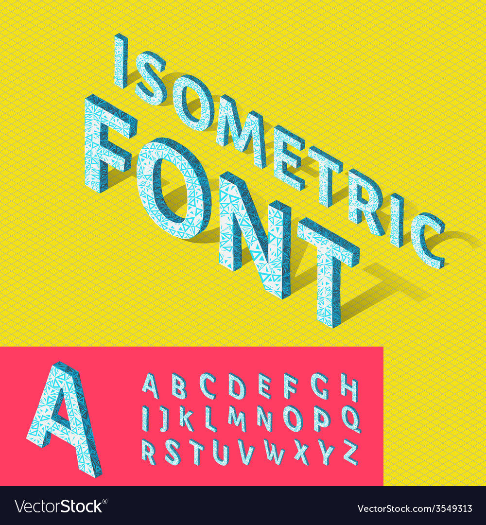 Isometric alphabet and grid font with geometric
