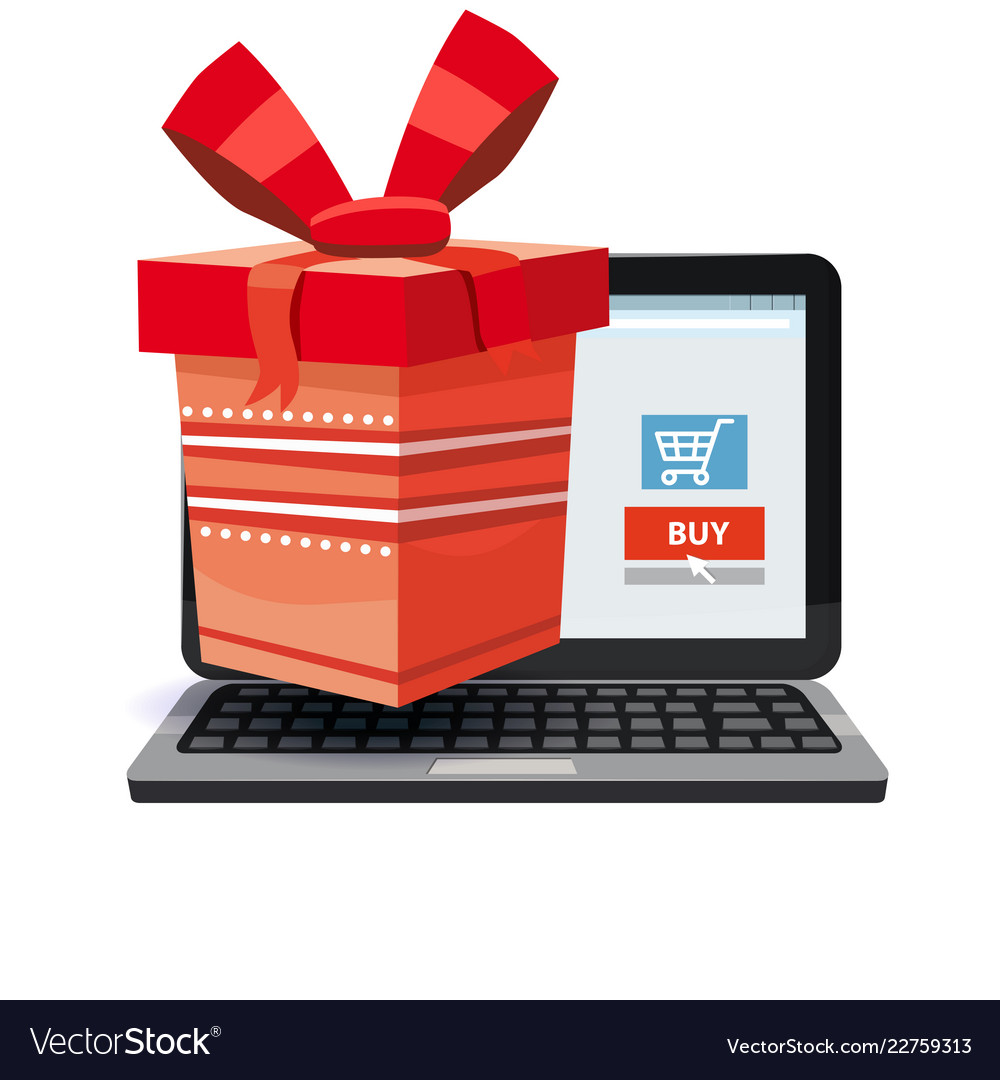 Laptop noteebok with red gift box online