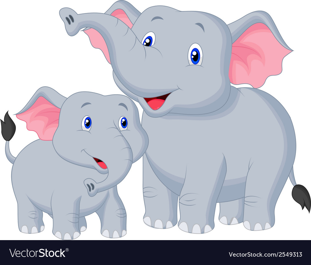mother and baby elephant cartoon royalty free vector image