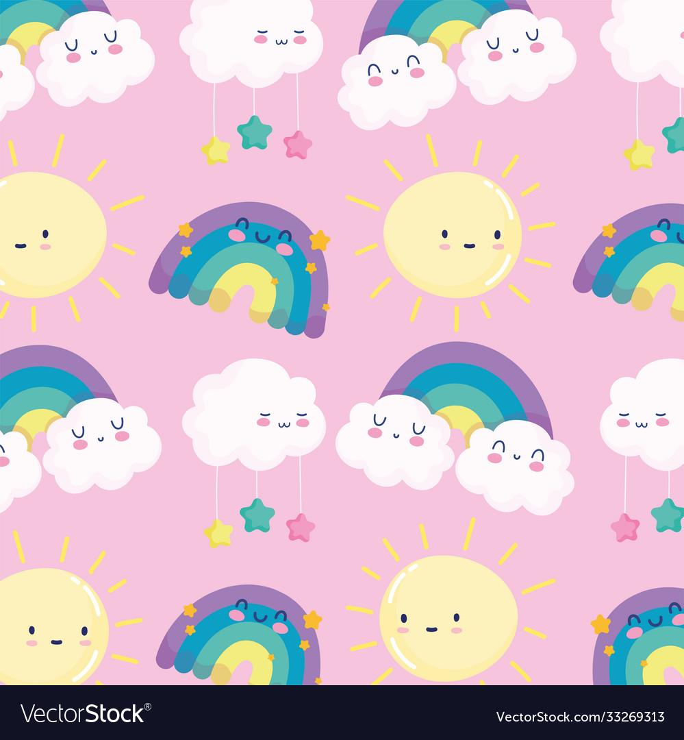 Rainbows sun clouds stars sky dream cartoon