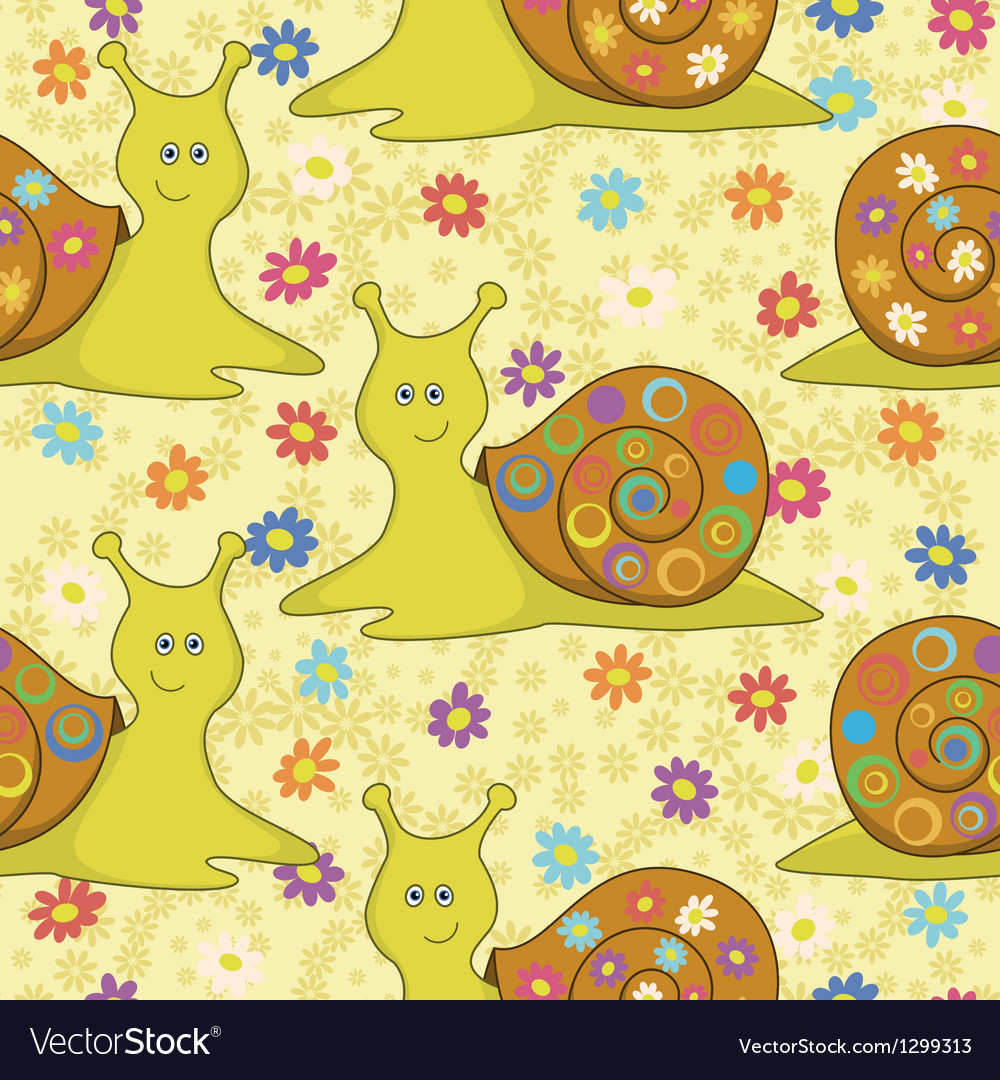 Seamless cartoon snail and flowers