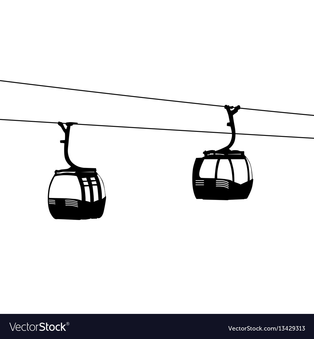 Silhouette of two air cable cabins vector image