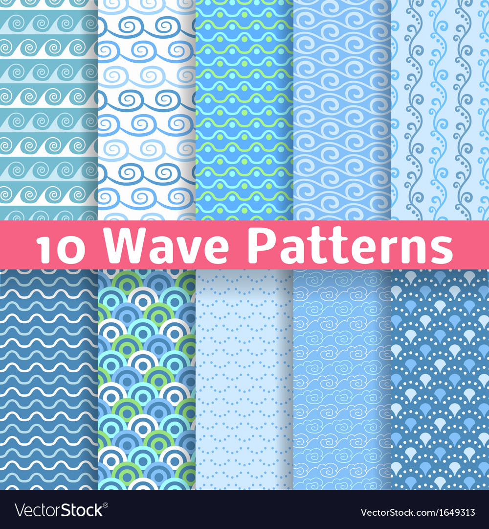 Wave different seamless patterns tiling