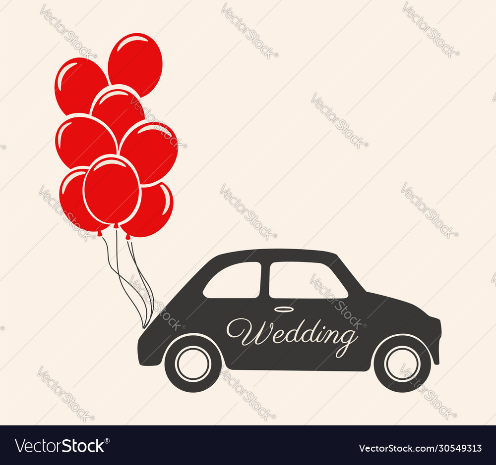 Wedding car decorations with balloons icon