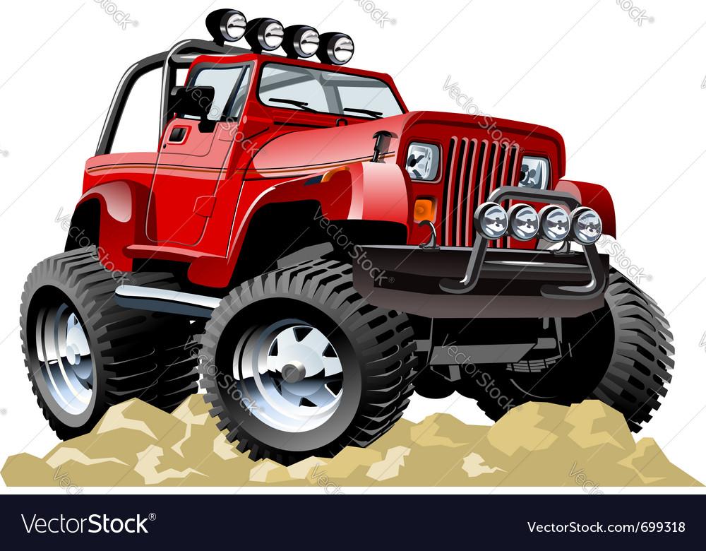 Cartoon jeep one-click repaint vector image