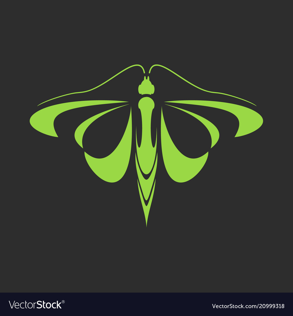 Emblem of a green butterfly on a black background