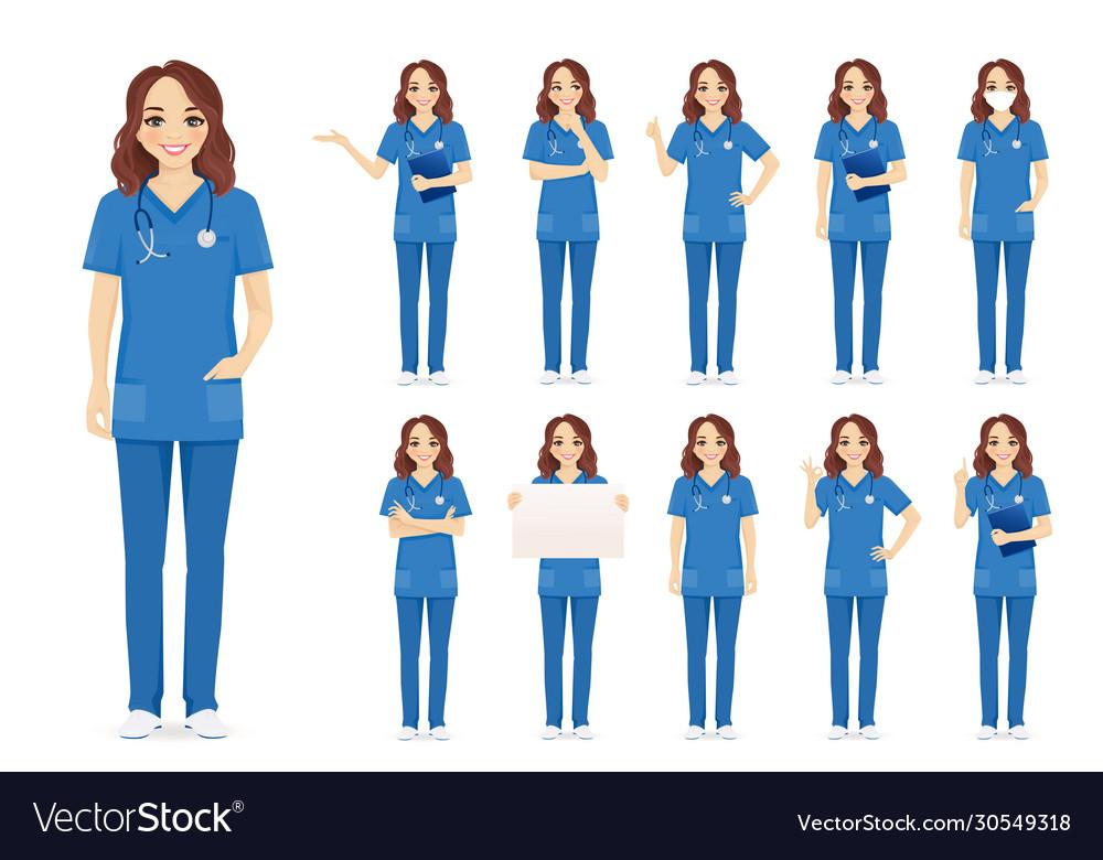 Female nurse character set